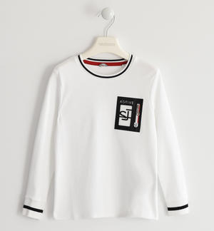 100% cotton crew neck t-shirt with zippered pocket WHITE