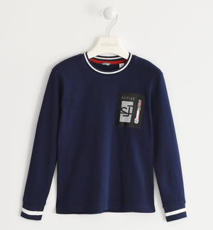 100% cotton crew neck t-shirt with zippered pocket BLUE