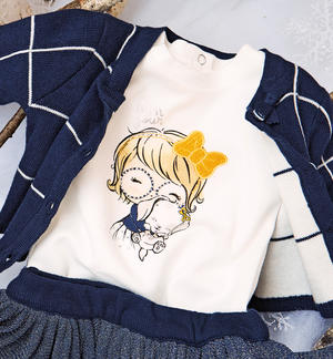 100% cotton long sleeves crewneck t-shirt for baby girl CREAM