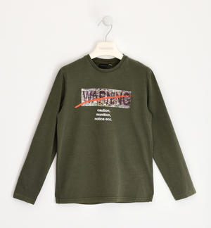 100% cotton long-sleeved t-shirt with print GREEN