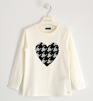 Round neck T-shirt with reversible pied de poule sequin heart