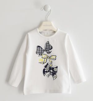 Crew neck T-shirt with bows WHITE