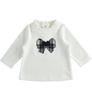 Crew neck T-shirt with check pattern bow