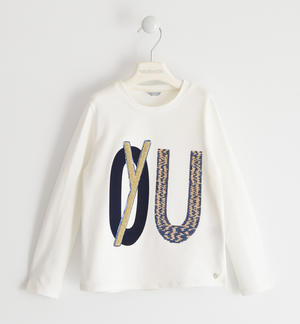 Crew-neck t-shirt with a graphics made with sequins and sponge-effect embroidery with lurex CREAM