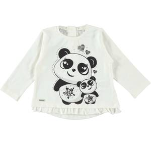 Crew neck shirt with panda and sequins