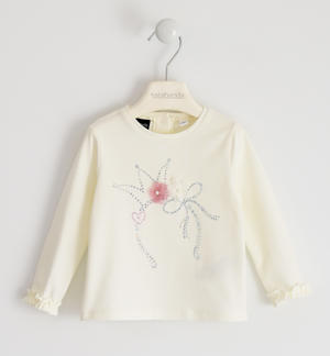 Round neck T-shirt with pearls, rhinestones and flower applications in tulle and voile