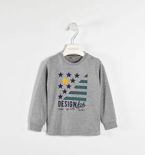 Round neck sweater with a terry fabric star  GREY