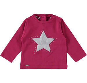 Crew neck shirt with a laminate fabric star
