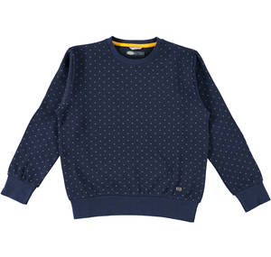 Crew neck fleece shirt with a geometric pattern BLUE