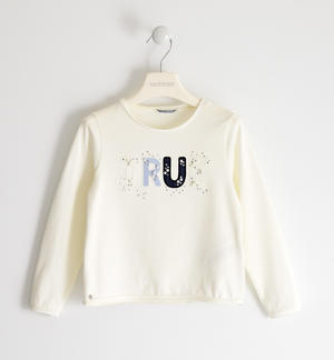 Crew neck T-shirt in stretch jersey with lettering, pearls and rhinestones CREAM