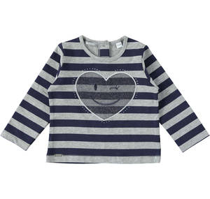 Girls' crew neck T-shirt with tulle love heart GREY