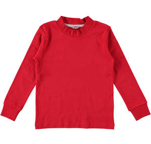 Boys' solid colour crew neck T-shirt RED