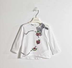 Jersey t-shirt with striped bow WHITE