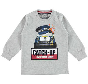 Warm jersey sweater with a detective car  GREY