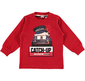 Warm jersey sweater with a detective car  RED
