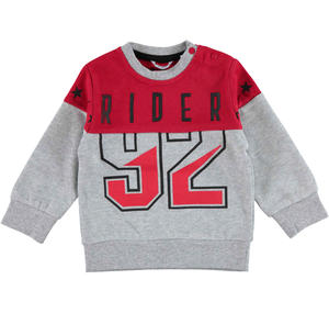 Warm jersey two-coloured sweater  RED