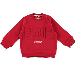 Warm jersey sweater with embossed details  RED