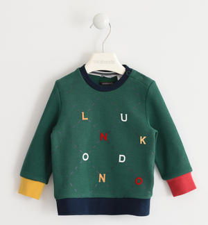 Crew-neck shirt in special interlock 100% cotton with letters GREEN
