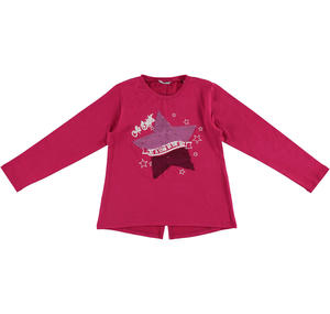 T-shirt with dovetail and sequined star  FUCHSIA