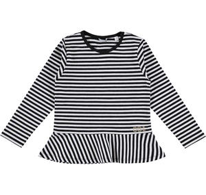 Striped t-shirt with pleated frill  BLACK