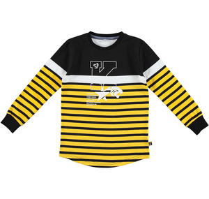 Striped t-shirt with rounded bottom  YELLOW