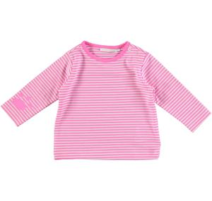 Striped t-shirt with puppy paw print PINK