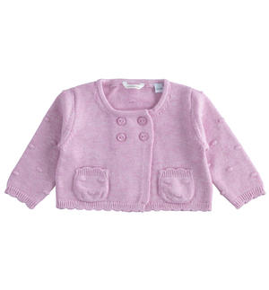 Long-sleeved newborn girl sweater with popcorn stitching