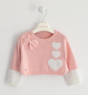 Particular sweater, short body model, made in winter tricot with hearts PINK