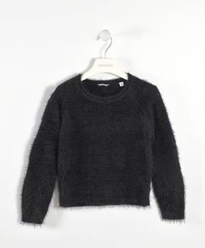 Faux fur sweater with alternating bands  BLACK