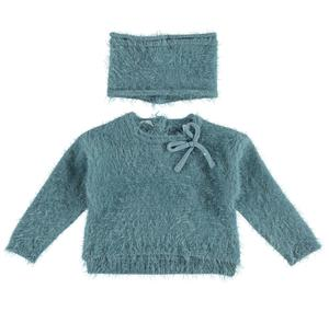 Fur effect sweater with neck warmer  LIGHT BLUE