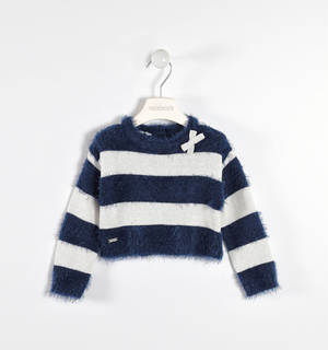 Fur and lurex effect sweater BLUE