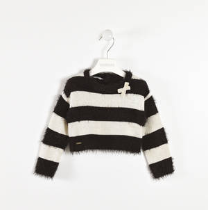 Fur and lurex effect sweater BLACK