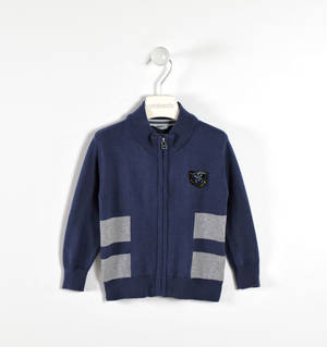 Fully zipped cardigan with contrasting-coloured stripes  BLUE