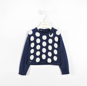 Polka dot round neck sweater with striped ribbed sleeves BLUE