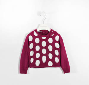 Polka dot round neck sweater with striped ribbed sleeves RED