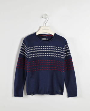 Round neck sweater with a zip and jacquard pattern   BLUE