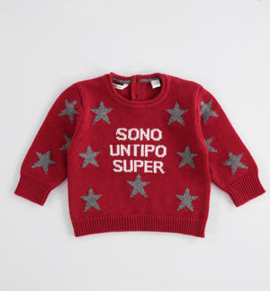 Cotton and wool blend newborn baby crewneck sweater RED
