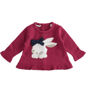 Newborn girl crew neck sweater with bunny