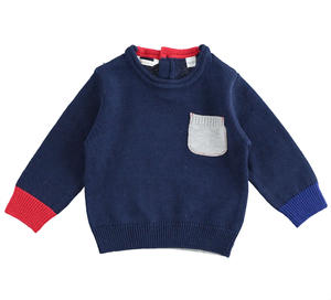 Cotton and wool blend newborn sweater with contrasting colors BLUE
