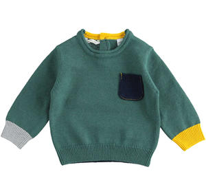 Cotton and wool blend newborn sweater with contrasting colors GREEN