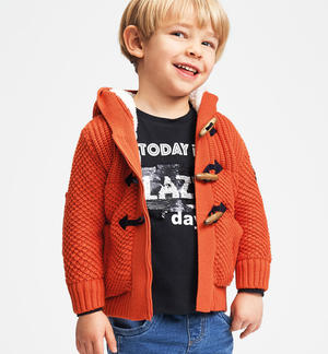 Sweater made in winter tricot with zipper and frogs ORANGE