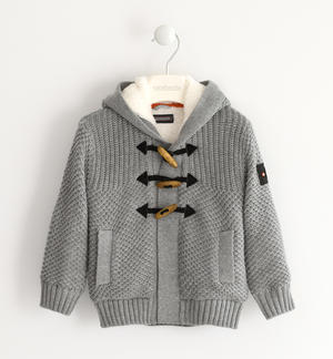 Sweater made in winter tricot with zipper and frogs GREY