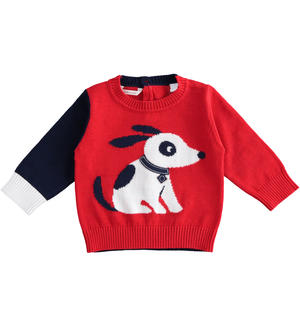 100% cotton crew neck tricot sweater for baby boy