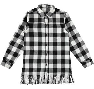Maxi checked shirt with frills  WHITE