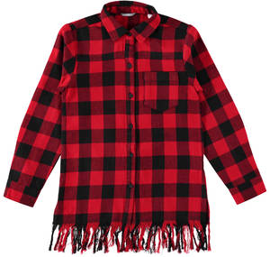 Maxi checked shirt with frills  RED