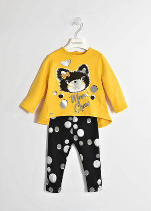 Maxi sweater and laminated polka dot leggings YELLOW