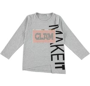 Flared maxi t-shirt with reversible sequins writing  GREY