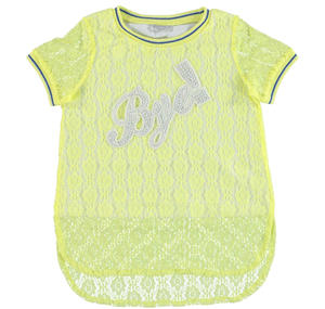 Stretch lace maxi t-shirt with a front applique decorated with sequins YELLOW