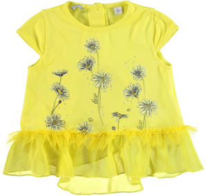 Maxi t-shirt svasata in cotone stretch con inserto in voile GIALLO