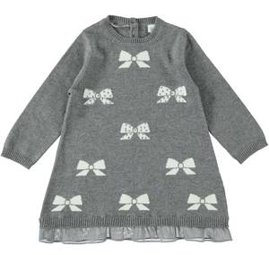 Knitted mini dress with ribbons and sequins  GREY
